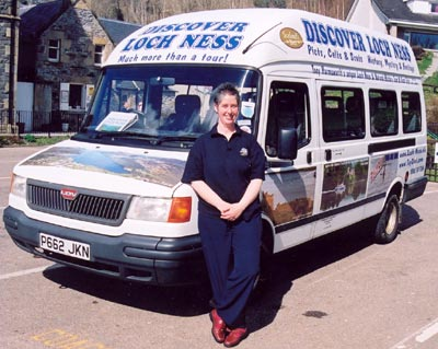 Alison Cameron with the current vehicle.