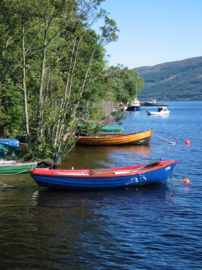 Boats tied up in Urquhart Bay