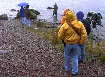 ISO crew filming eye witness Ian Cameron at Loch Ness