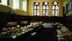 Fort Augustus Abbey Monks' Refectory set for a function